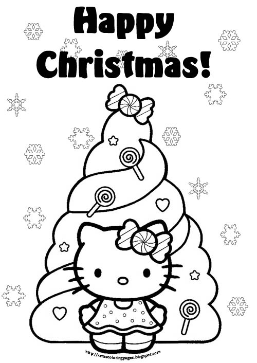 Hello Kitty Merry Christmas Coloring Pages : Xmas coloring pages
