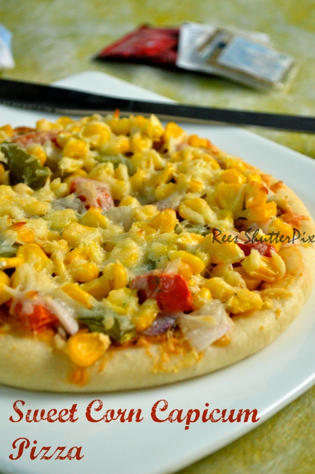 veg pizza, sweet corn capcicum pizza, step by step picture pizza recipe, pizza base, pizza sauce