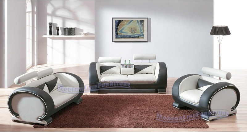 Haram Furniture Modern Contemporary Leather Living Room Set
