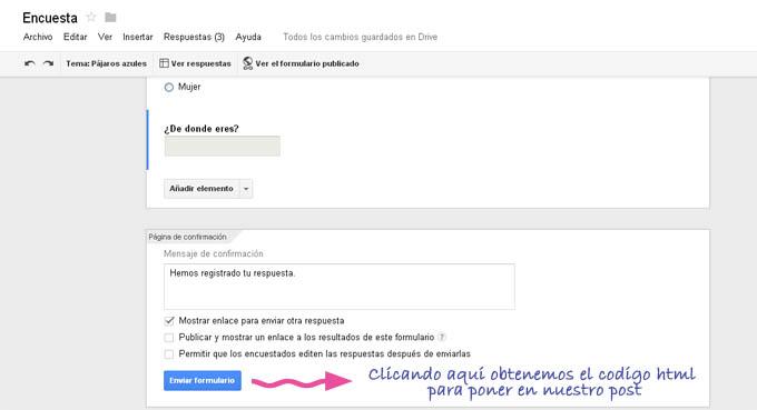 Crear formulario google enviar formulario