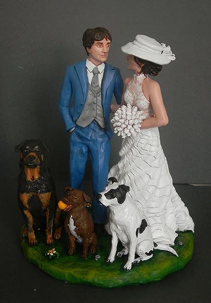 cake topper cani statuette cane sposini eleganti ritratti realistici orme magiche