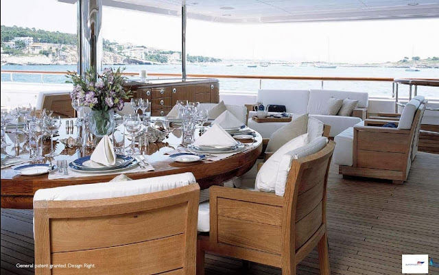 Fletcher Capstan Table Yacht Ilona в интерьере супер-яхты
