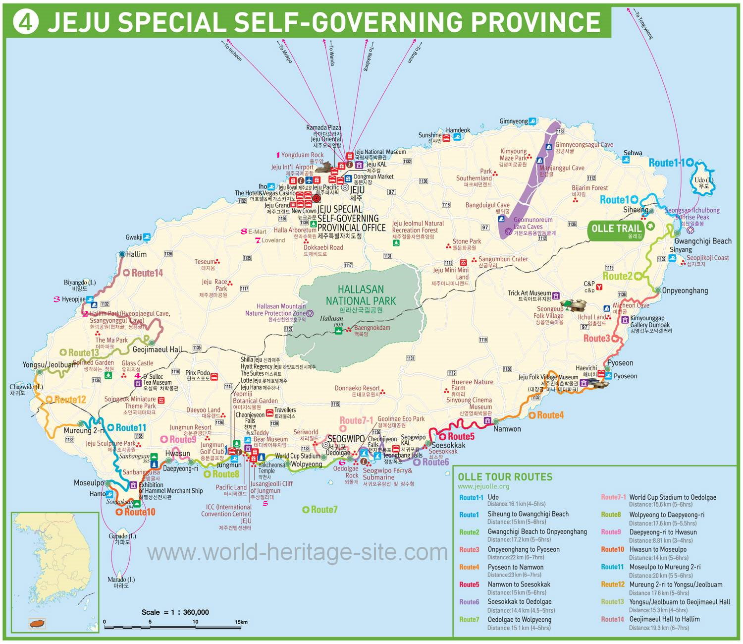 Map of Tourist Attractions around Jeju Island