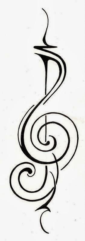 Music Sol key modern tattoo stencil