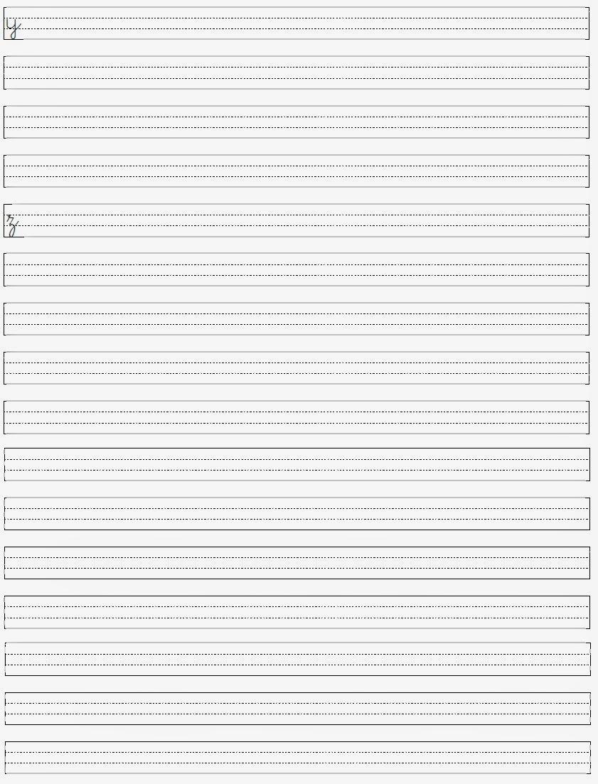 Alfabeto Minúsculo - Letras para Caligrafia yz