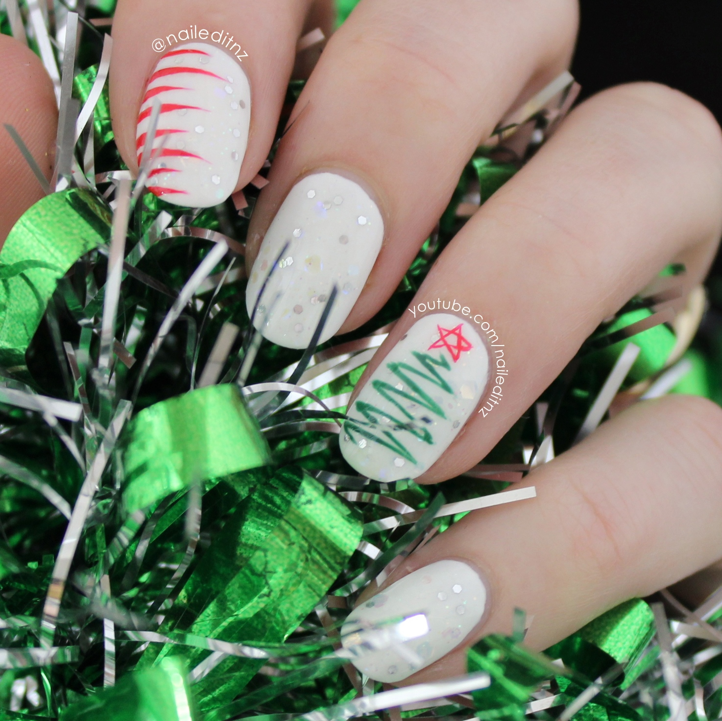 Christmas Nail Art | Tree, Lights, Sweater, Candy Canes & Snowflakes