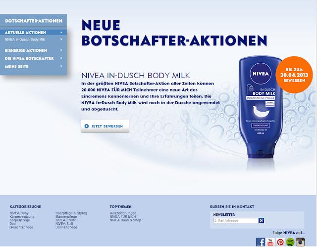 NIVEA Test-Aktion In-Dusch Body Milk