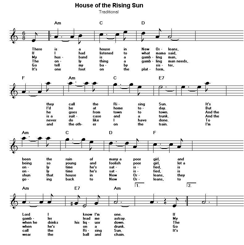 letra de la cancion the house of the rising sun: