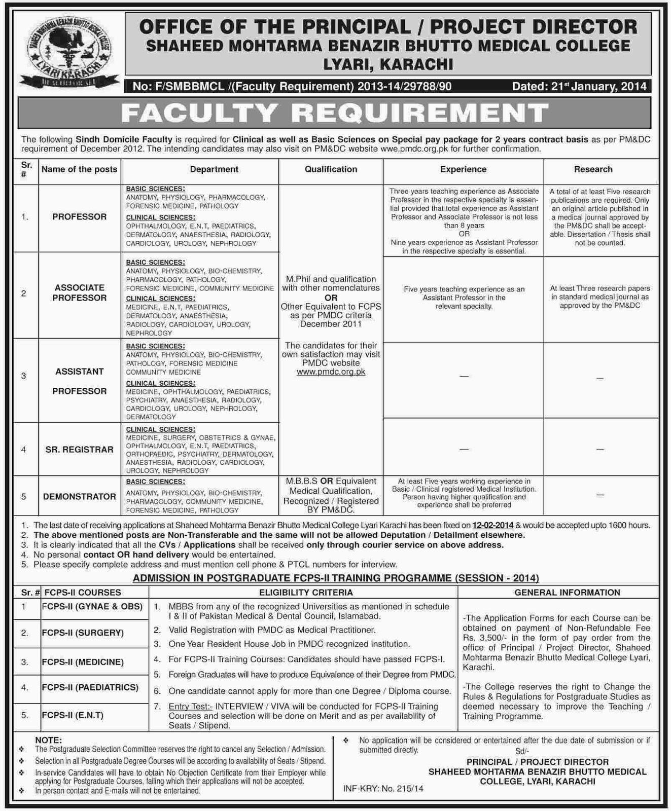 Vacancies in Shaheed Benazir Bhutto Medical College, Karachi