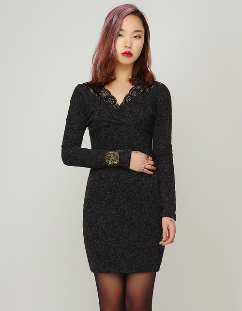 Lace Straps Bodycon Knit Dress