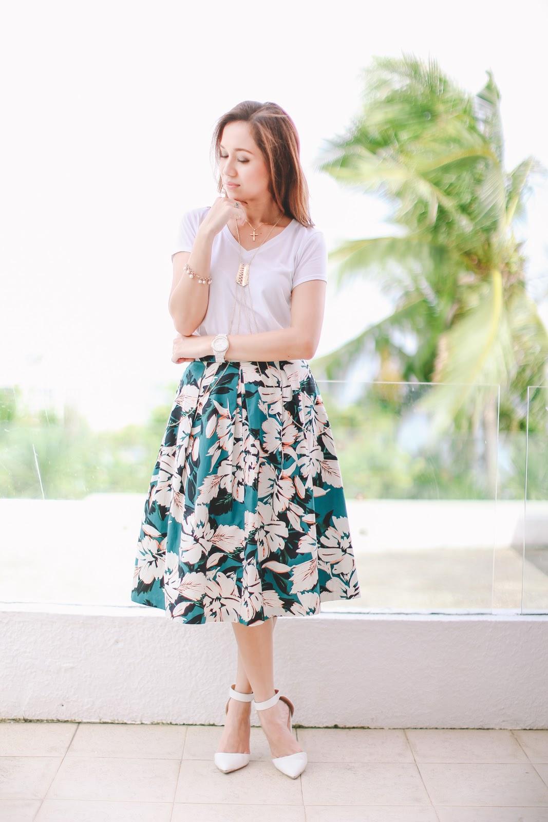 Bank on Basics, Blinkbox Photos, Cebu Fashion Blogger, Giordano Philippines, Movenpick Hotel Mactan Island Cebu, OUTFIT OF THE DAY, Toni Pino-Oca, Fashion, How to wear a white shirt, full skirt