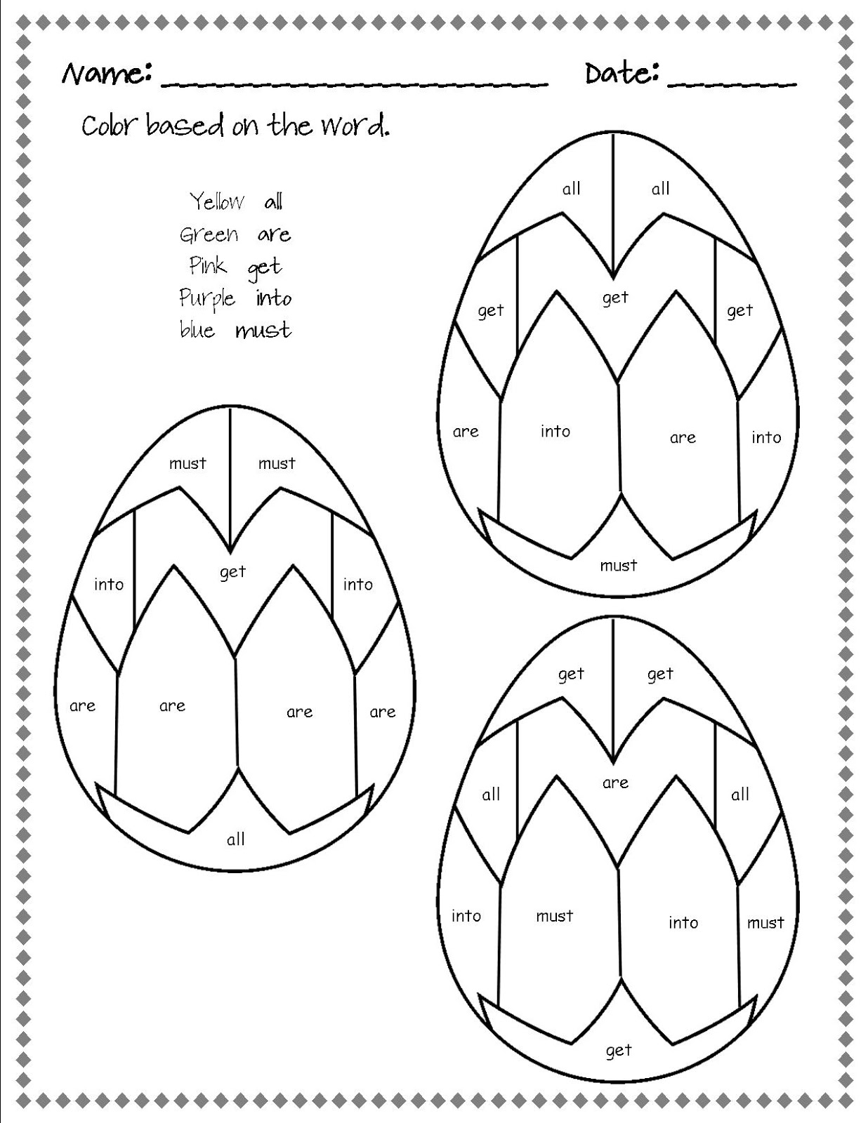 sight word Tales pages Outside Words  coloring Classroom Sight  from  Easter Egg the kindergarten Dolch