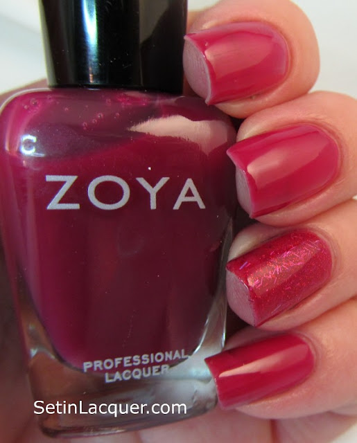 "Zoya Paloma with a ""jelly sandwich"" of Kissy accent nail - artificial light"