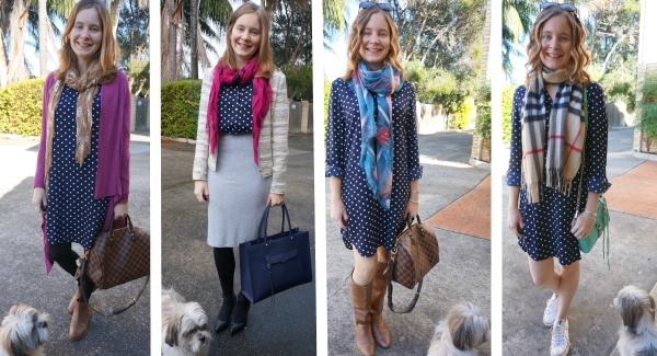Away From Blue | Atmos&Here Polly navy polka dot shirt dress 4 ways multi seasons