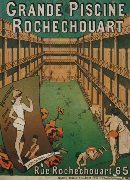 advertising, classic posters, free download, graphic design, retro prints, vintage, vintage posters, Grande Piscine Rochechouart - Vintage Advertising Poster