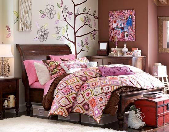 Dormitorios color rosa y chocolate para adolescentes - Decoracion juvenil paredes ...