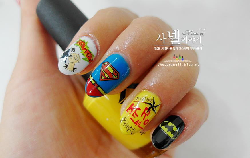 Superhero nail arts - SARA NAIL: Superhero Nail Arts, How To Do Batman And Superman Nails