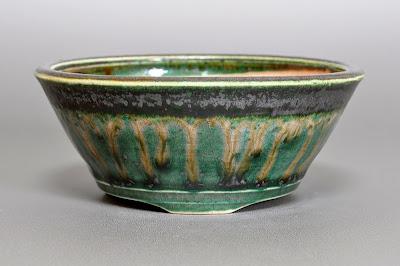 織部釉丸盆栽鉢(Oribe glaze bonsai pot)h2176