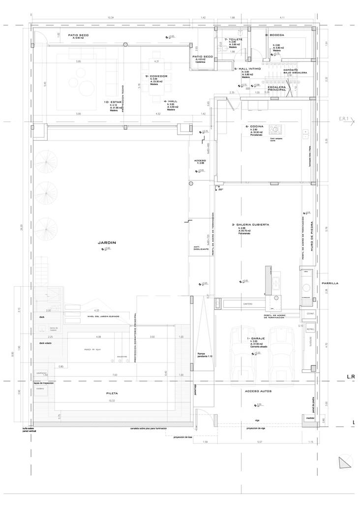 Site plan of Modern Villa Devoto by Andres Remy Architects