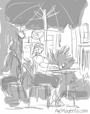 Sunny sidewalk cafe. Sketch by Artmagenta.