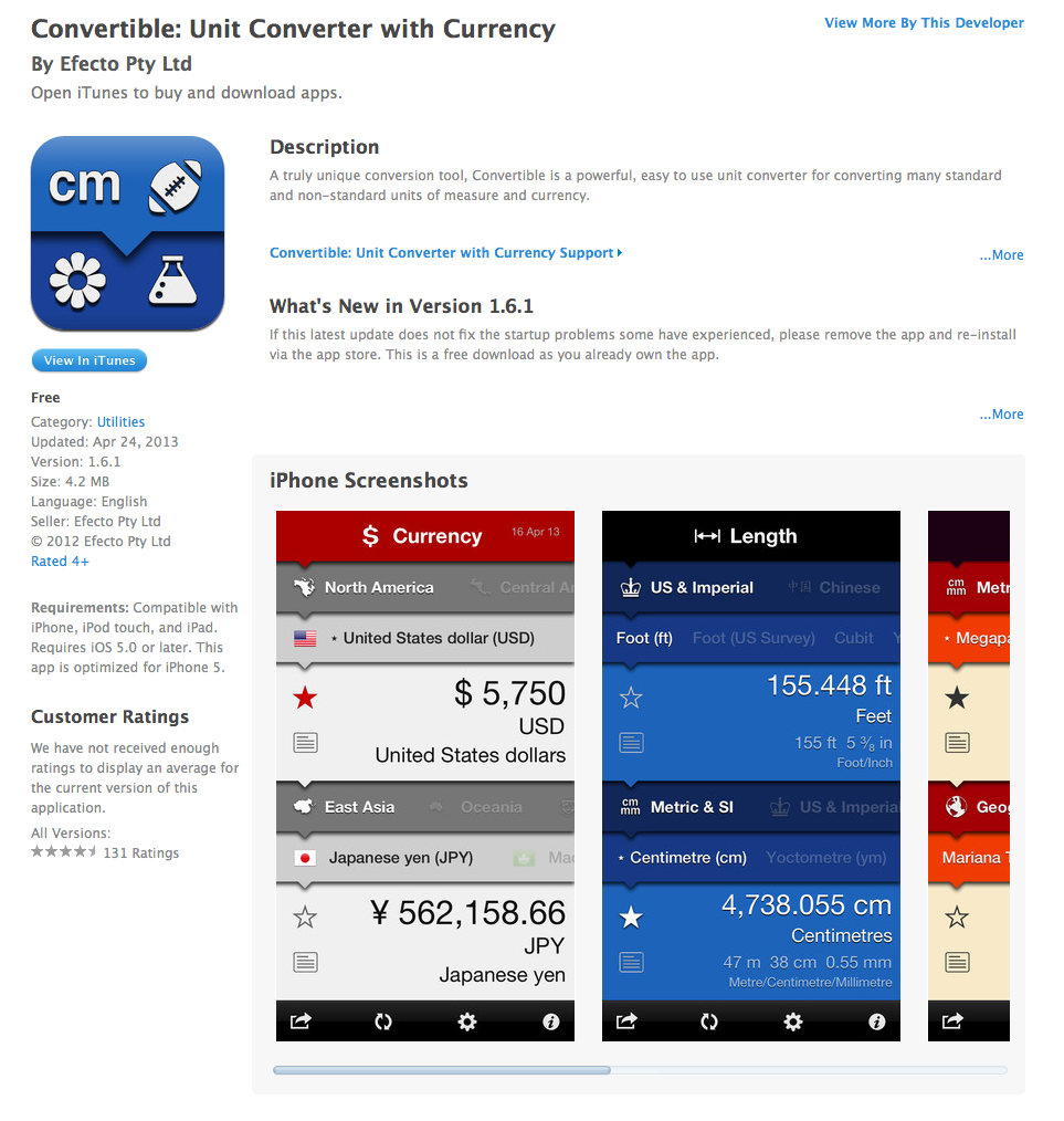 Free iOS App Today - Convertible: Unit Converter with Currency