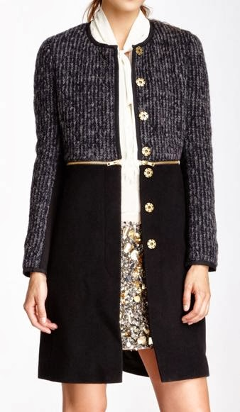 Black and grey long ladies jacket for fall