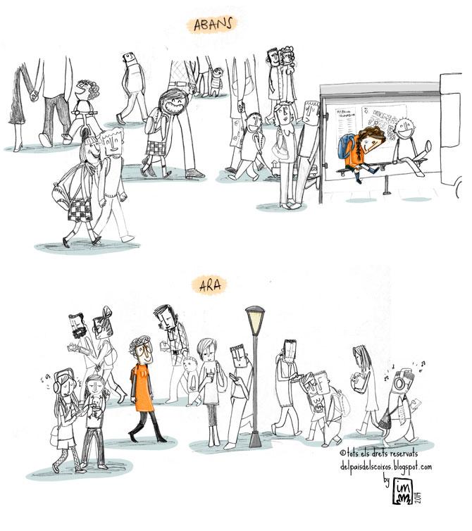 vinyeta il·lustrativa sobre la gent que va caminant mirant a terra sempre pendent del mòbil @Imma Mestre Cunillera per Del pais dels coixos.