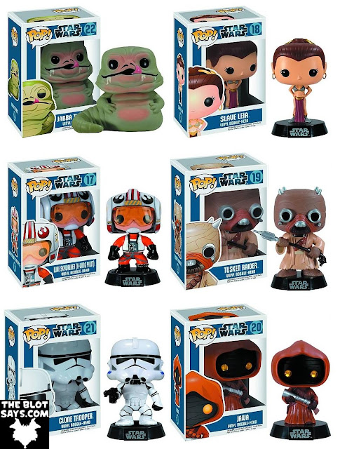 Star Wars Pop! Series 3 Vinyl Figures by Funko - Jabba the Hut, Slave Leia, X-Wing Pilot Luke Skywalker, Tusken Raider, Clone Trooper & Jawa