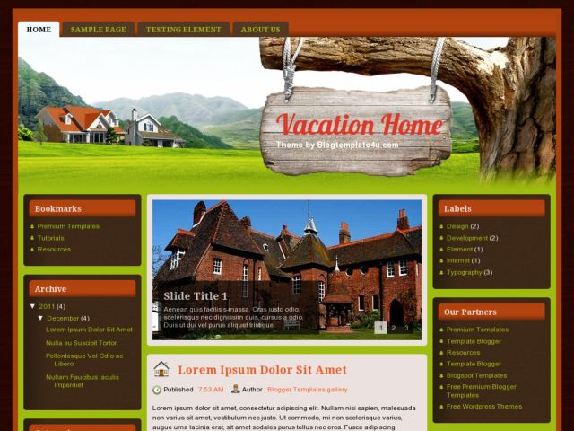 Vacation Home Blogger Template. Free Vacation Home Blogger Template. 3 Columns Blogspot Template