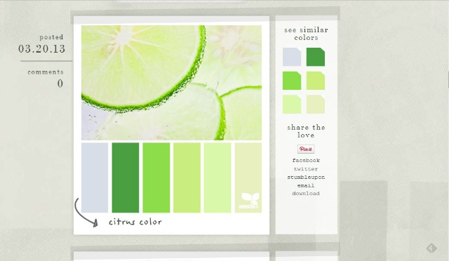 Find color inspiration and palettes on Pinterest or design blogs like Design Seeds