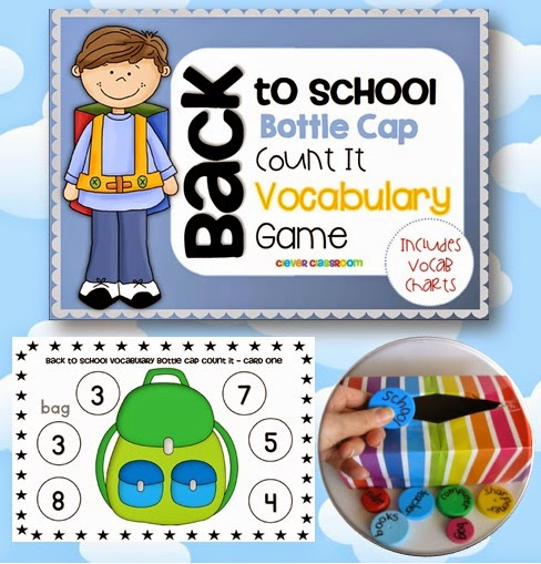 Back to School Bottle Cap Vocabulary Game a hands on games for back to school