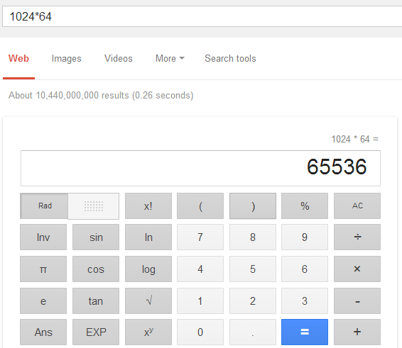 google calculating tips