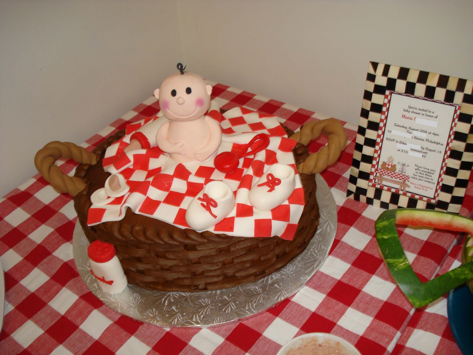 cake to match my baby q bbq baby shower invitation