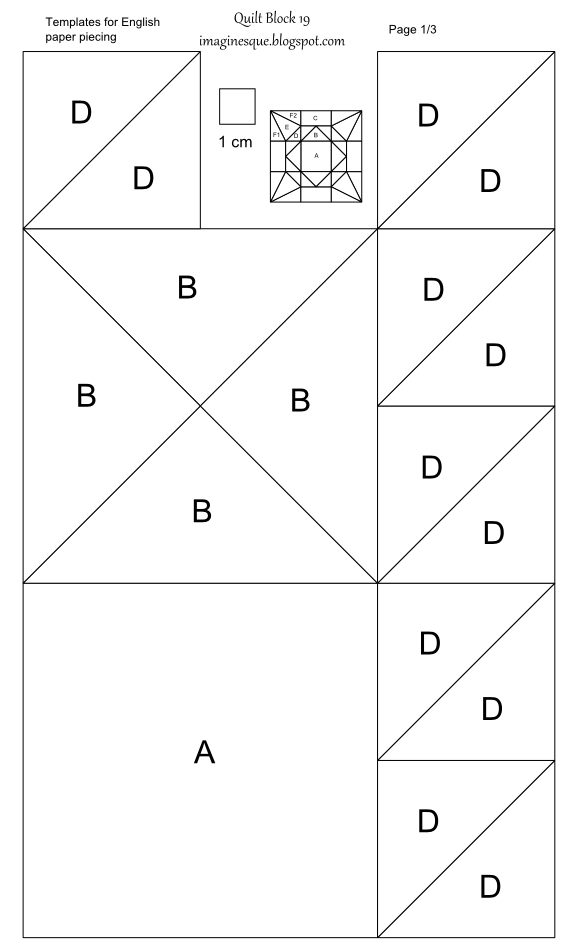 Imaginesque: Quilt Block 19: Templates for EPP, Hand Piecing and Foundation Paper Piecing ...