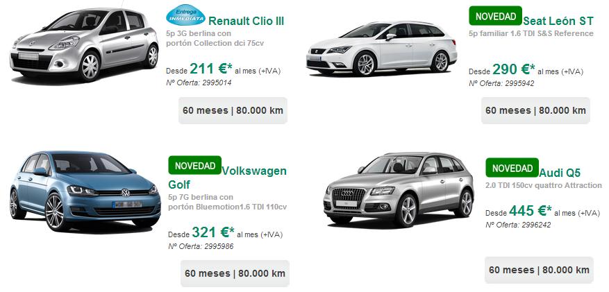 Numerosos modelos disponibles con el renting