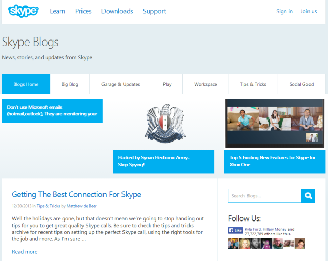The Syrian Electronic Army Rings In The New Year By Hacking Skype's Social Media Accounts