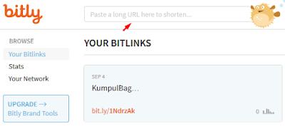 Menyingkat URL situs web blog dengan Shorten Bitly
