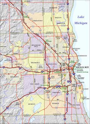 Highway map of milwaukee
