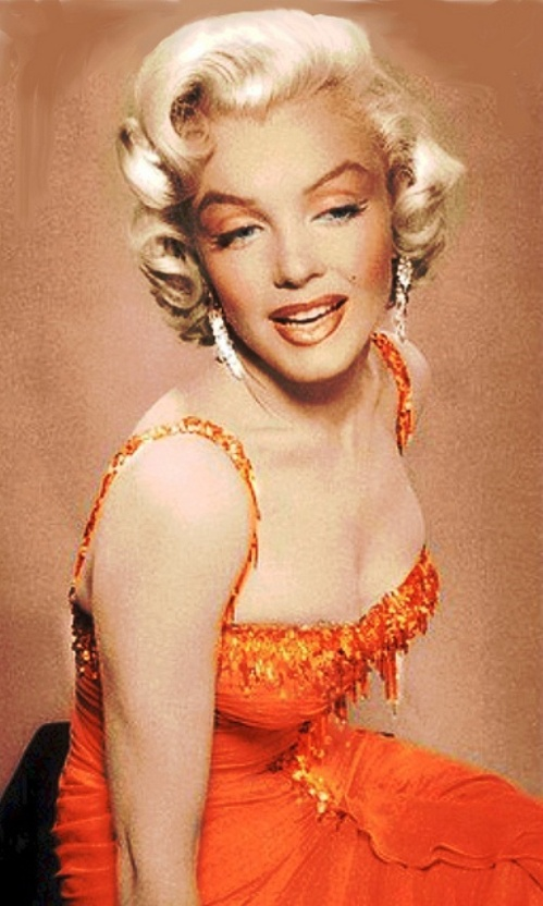 Marilyn Monroe wears her oragne dress in Gentlemen Prefer Blondes