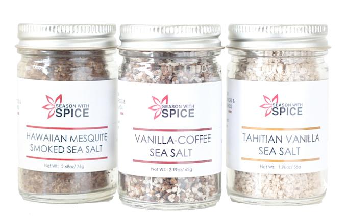 Vanilla Coffee Sea Salt, Tahitian Vanilla Sea Salt and Hawaiian Mesquite Smoked Sea Salt at SeasonWithSpice.com