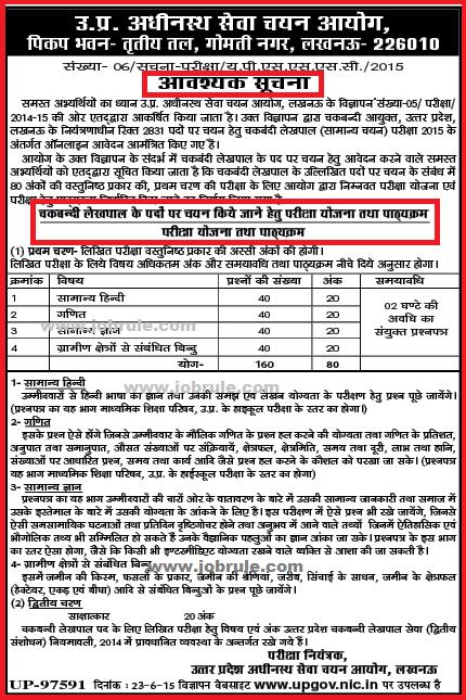 Written Examination Syllabus of Uttar Pradesh Adhinasth Sewa Chayan Ayog Chakbandi Lekhpal Sarkari Naukri 2015 (UPSSSC)
