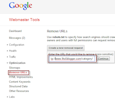 URL Removal Request using Webmaster Tools