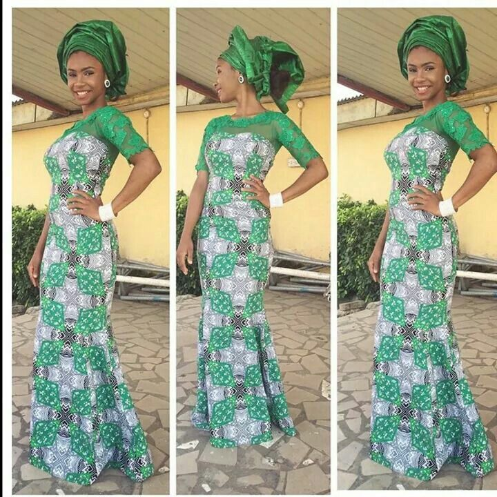 Green Ankara Fabric Mix With Lace Design Debonke House