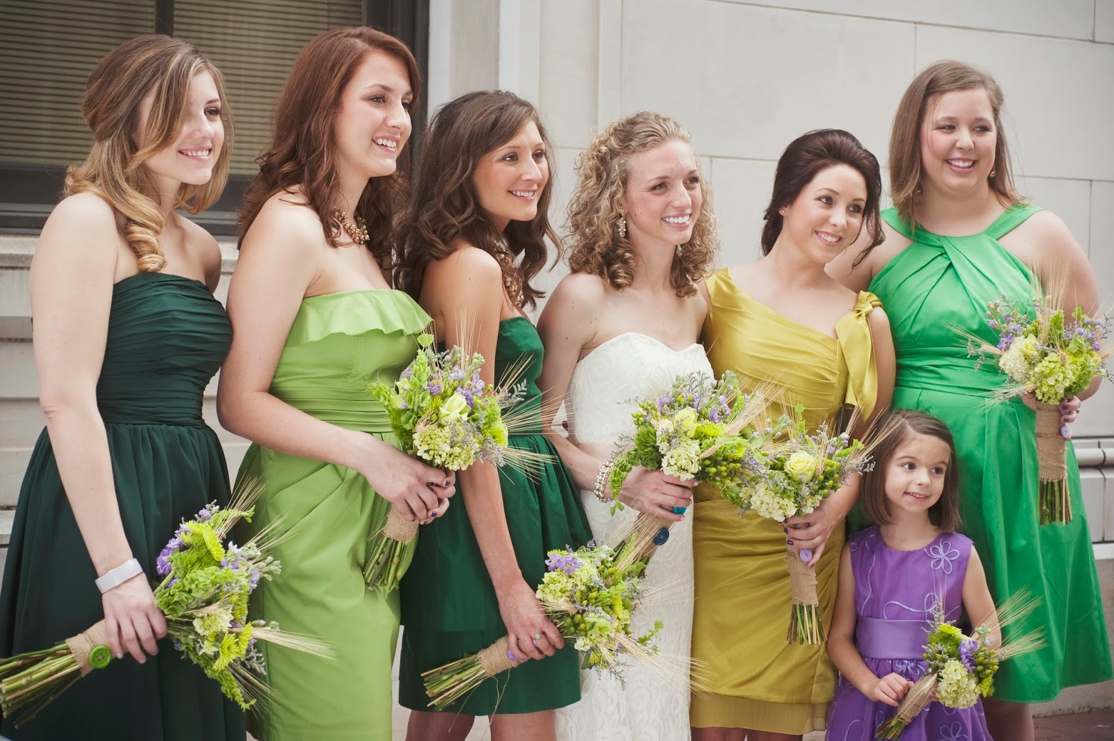 mismatched bridesmaid gowns