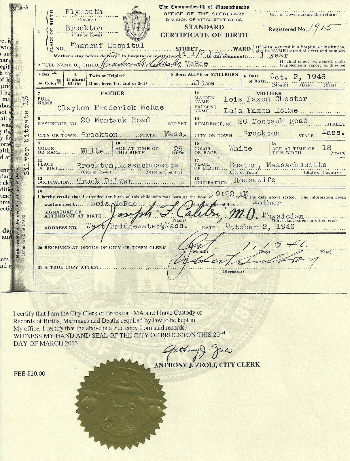 Mcraeanderson Genealogy Long Lost Uncle Freds Birth Certificate