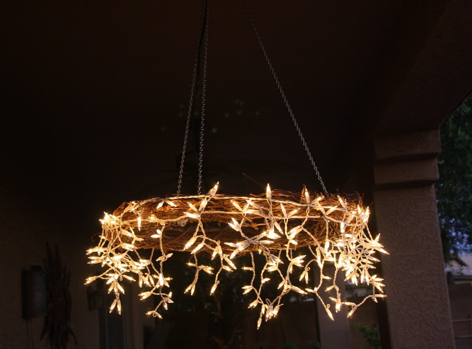 Rustic Indoor String Lights : The Project Table: DIY Icicle Chandelier