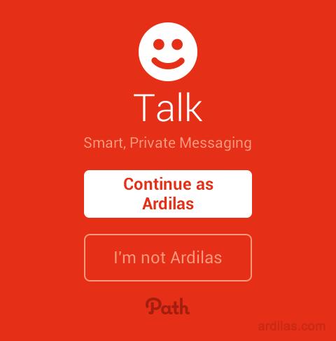 Cara Mendaftar / Membuat Akun di Aplikasi Path Talk - Android - Continue as nama_anda