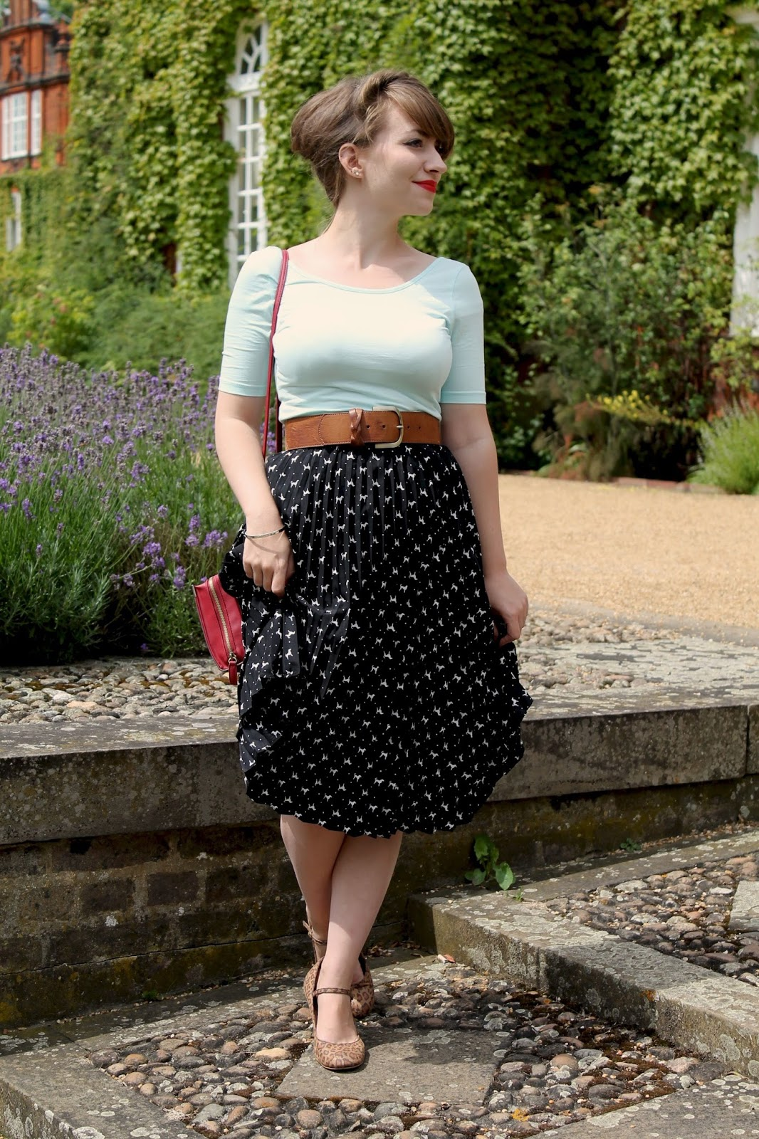 1950s style dog print skirt, leopard print shoes