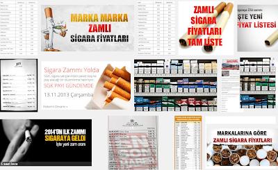 Zamlı Sigara Fiyatları Listesi 2014