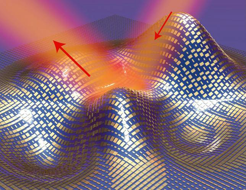 Light reflects off the cloak (red arrows) as if it were reflecting off a flat mirror in this 3D illustration of a metasurface skin cloak made from an ultrathin layer of nanoantennas (gold blocks) covering an arbitrarily shaped object is shown in this handout image courtesy Reuters/Xiang Zhang group/Lawrence Berkeley National Laboratory